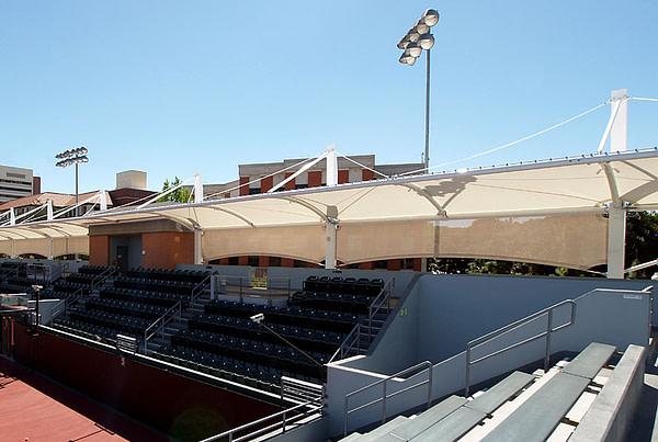 Tensile facades for sports arenas